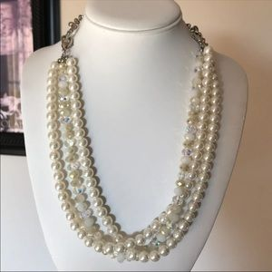 Jewelry - Crystal & Pearl Multi Strand Necklace